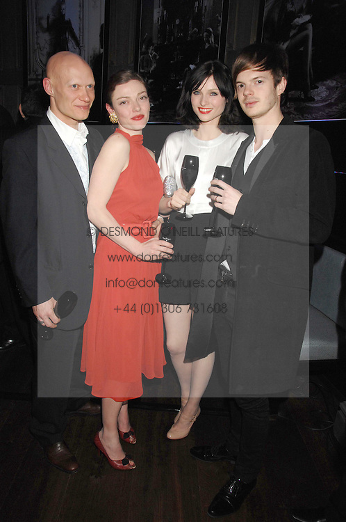 Left to right, DOMINIC BURNS, CAMILLA RUTHERFORD, Singer SOPHIE ELLIS-BEXTOR and RICHARD JONES at a party to launch the Dom Perignon OEotheque 1995 held at The Landau, Portland Place, London W1 on 26th February 2008.<br />