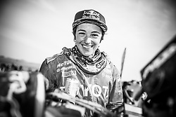 Anastasiya Nifontova of Nifontova 13 Team at the finish line after the last stage of Rally Dakar 2019 from Pisco to Lima, Peru on January 17, 2019. // Flavien Duhamel/Red Bull Content Pool // AP-1Y5HFUKG92112 // Usage for editorial use only // Please go to www.redbullcontentpool.com for further information. //
