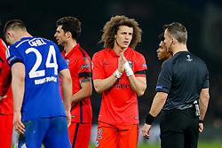 David Luiz of Paris Saint-Germain pleads with referee Bjorn Kuipers - Photo mandatory by-line: Rogan Thomson/JMP - 07966 386802 - 11/03/2015 - SPORT - FOOTBALL - London, England - Stamford Bridge - Chelsea v Paris Saint-Germain - UEFA Champions League Round of 16 Second Leg.