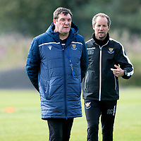 St Johnstone Training….<br />Tommy Wright and Alex Cleland pictured during training at McDiarmid Park ahead of Sunday's game against Rangers<br />Picture by Graeme Hart.<br />Copyright Perthshire Picture Agency<br />Tel: 01738 623350  Mobile: 07990 594431