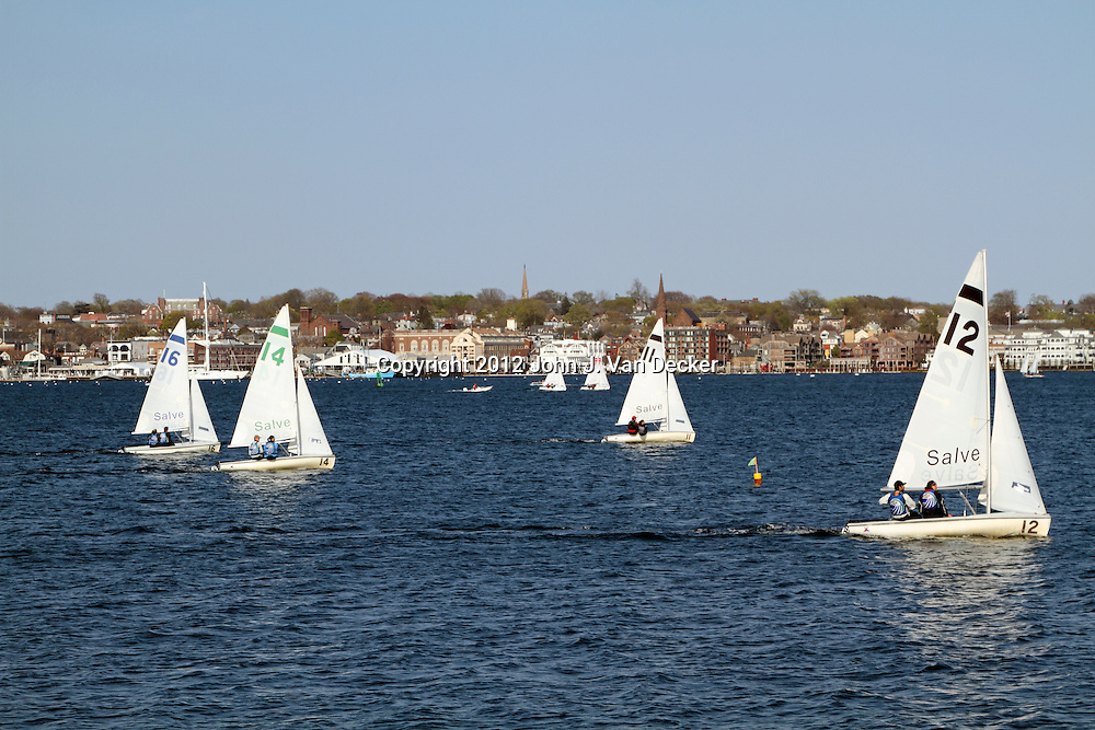 Sailboats racing in the harbor of Newport, Rhode Island, USA. For Editorial purposes only.