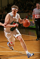 Miha Zupan of Union Olimpija during basketball game of NLB league ABA, 20th round, between Union Olimpija, Ljubljana and Buducnost, Podgorica, played in Ljubljana in Tivoli Hall  on February 3, 2008. (Photo by Vid Ponikvar / Sportal Images).