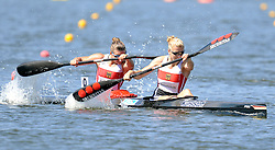 FANNY FISCHER & CONNY WASSMUTH (BOTH GERMANY) COMPETE IN WOMEN'S K2 200 METERS FINAL A RACE DURING 2010 ICF KAYAK SPRINT WORLD CHAMPIONSHIPS ON MALTA LAKE IN POZNAN, POLAND...POLAND , POZNAN , AUGUST 22, 2010..( PHOTO BY ADAM NURKIEWICZ / MEDIASPORT ).