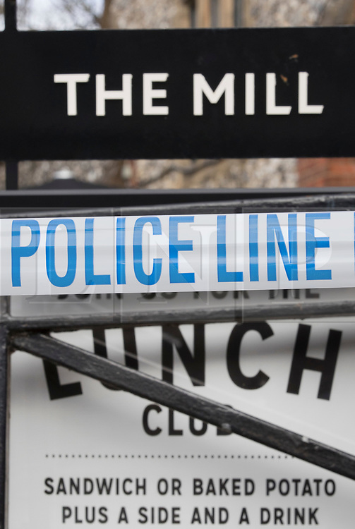 © Licensed to London News Pictures. 20/03/2018. Salisbury, UK. Police cordon tape still surrounds The Mill pub as police continue their investigation after former Russian spy Sergei Skripal and his daughter Yulia were poisoned with nerve agent. The couple where found unconscious on bench in Salisbury shopping centre. A policeman who went to their aid is currently recovering in hospital. Photo credit: Peter Macdiarmid/LNP