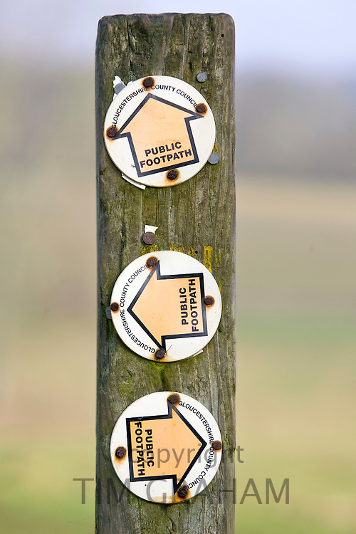 Public footpath signpost, Gloucestershire, The Cotswolds, United Kingdom.