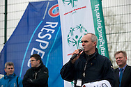 (R) Zbigniew Tyc - Director of Polish Soccer Tournament Unified speaks while medal's ceremony during Polish Soccer Tournament Unified of Special Olympics in Mietne on April 28, 2013.The idea of Special Olympics is that, with appropriate motivation and guidance, each person with intellectual disabilities can train, enjoy and benefit from participation in individual and team competitions...Poland, Mietne, April 28, 2013..Picture also available in RAW (NEF) or TIFF format on special request...For editorial use only. Any commercial or promotional use requires permission...Mandatory credit: Photo by © Adam Nurkiewicz / Mediasport