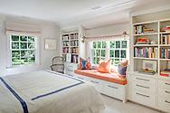 Stamford home, bedroom. Interior design by Jeffrey Kilmer Design.