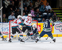 KELOWNA, CANADA - APRIL 3: Taran Kozun #35 of the Seattle Thunderbirds defends the net against the Kelowna Rockets on April 3, 2014 during Game 1 of the second round of WHL Playoffs at Prospera Place in Kelowna, British Columbia, Canada.   (Photo by Marissa Baecker/Getty Images)  *** Local Caption *** Taran Kozun;