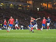 23rd March 2018, Hampden Park, Glasgow, Scotland; International Football Friendly, Scotland versus Costa Rica; Matt Ritchie of Scotland fires a shot on target