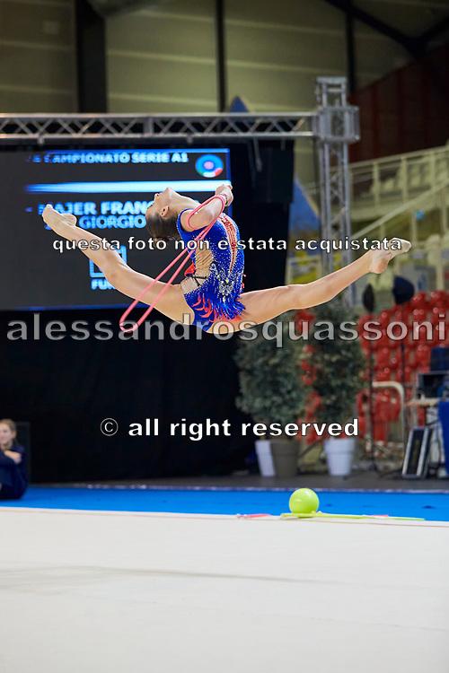 Francesca Majer from San Giorgio Desio team during the Italian Rhythmic Gymnastics Championship in Padova, 25 November 2017.