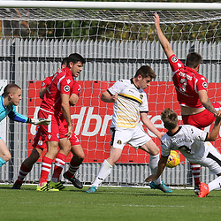 Kai Edwards just misses  during the Dumbarton v Connah's Quay Nomads Irn Bru cup second round 2 September 2017<br /> <br /> <br /> <br /> <br /> (c) Andy Scott | SportPix.org.uk