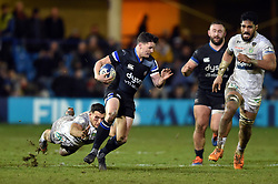 Freddie Burns of Bath Rugby goes on the attack - Mandatory byline: Patrick Khachfe/JMP - 07966 386802 - 06/12/2019 - RUGBY UNION - The Recreation Ground - Bath, England - Bath Rugby v Clermont Auvergne - Heineken Champions Cup