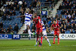 Nedum Onuoha of Queens Park Rangers and Tammy Abraham of Bristol City compete in the air - Rogan Thomson/JMP - 18/10/2016 - FOOTBALL - Loftus Road Stadium - London, England - Queens Park Rangers v Bristol City - Sky Bet EFL Championship.