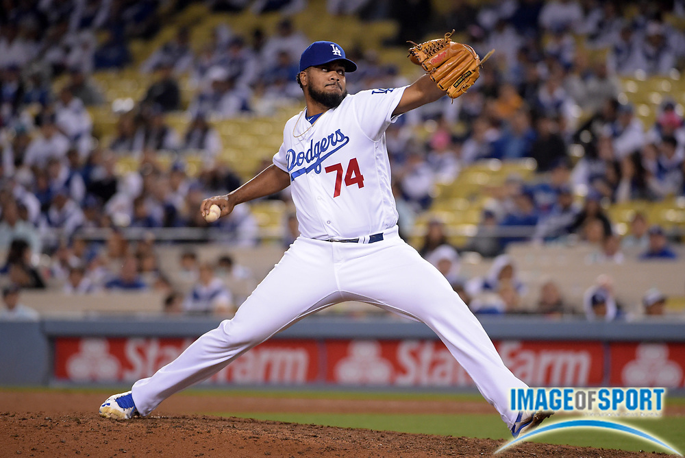 Apr 13, 2016; Los Angeles, CA, USA; Los Angeles Dodgers relief pitcher Kenley Jansen (74) delivers a pitch in the ninth inning against the Arizona Diamondbacks during a MLB game at Dodger Stadium. The Dodgers defeated the Diamondbacks 3-1.