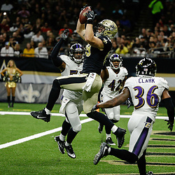 Aug 31, 2017; New Orleans, LA, USA; New Orleans Saints tight end Josh Hill (89) catches a touchdown past Baltimore Ravens linebacker Bam Bradley (53) and safety Chuck Clark (36)  during the second quarter of a preseason game at the Mercedes-Benz Superdome. Mandatory Credit: Derick E. Hingle-USA TODAY Sports