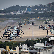 OKINAWA, JAPAN - JANUARY 21 : MV-22 Ospreys are seen at the U.S. Marine Corps Futenma Air Station from an observation deck at a park in Ginowan City, Okinawa Prefecture, Japan on January 21, 2017. (Photo by Richard Atrero de Guzman/ANADOLU Agency)