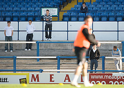 CARDIFF, WALES - Wednesday, October 8, 2008: Supporters watch as Wales players take part in a training session at Ninian Park ahead of the UEFA European U21 Championship Play-Off match against England. (Photo by David Rawcliffe/Propaganda)