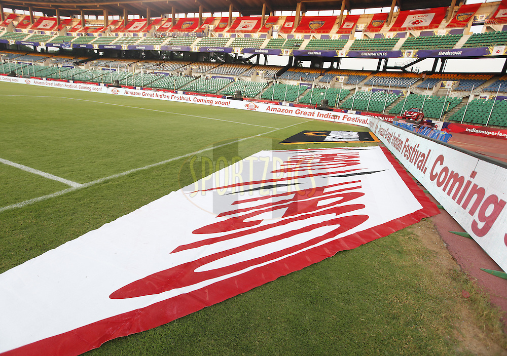 Hero branding during match 6 of the Indian Super League (ISL) season 3 between Chennaiyin FC and Delhi Dynamos FC held at the Jawaharlal Nehru Stadium in Chennai, India on the 6th October 2016.<br /> <br /> Photo by Arjun Singh / ISL/ SPORTZPICS