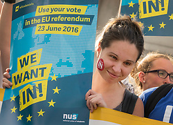 © Licensed to London News Pictures. 21/06/2016. London, UK. An activist holds a 'We want in' placard at a Remain campaign event in Trafalgar Square organised via Facebook. There are only two full days of campaigning ahead of the UK EU referendum taking place on Thirsday 23rd June, 2016. Photo credit: Peter Macdiarmid/LNP