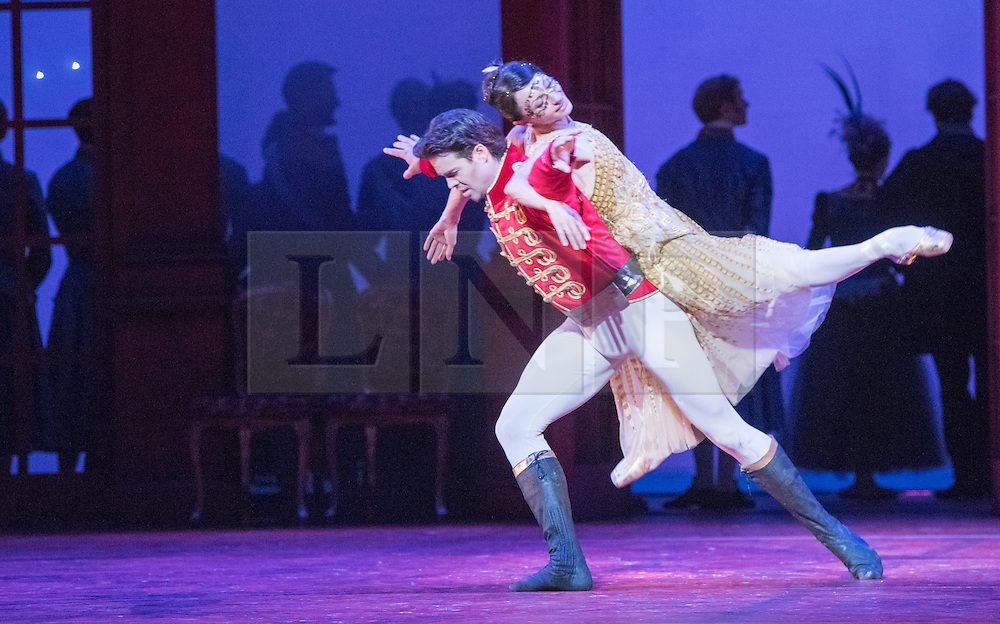 © Licensed to London News Pictures. 08/07/2015. London, UK. Inspired by the Brothers Grimm fairy tale, Christopher Wheeldon has created a dream-like ballet, set to Prokofiev's magnificent score – performed live by the Royal Ballet Sinfonia – and full of lavish sets and costumes by Julian Crouch, and stunning stage effects. Picture features Matthew Golding as Prince Guillaume and Anna Tsygankova as Cinderella. Photo credit : Tony Nandi/LNP