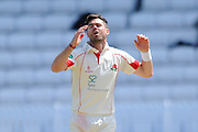 Lancashire's James Anderson showing his frustration during the Specsavers County Champ Div 1 match between Somerset County Cricket Club and Lancashire County Cricket Club at the County Ground, Taunton, United Kingdom on 4 May 2016. Photo by Graham Hunt.