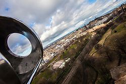 Edinburgh's Princes Street seen from the barrel of The One O'Clock Gun on the Edinburgh Castle Esplanade.