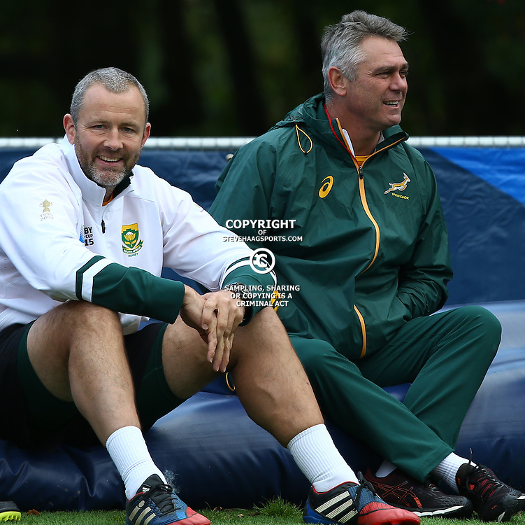 LONDON, ENGLAND - OCTOBER 13: Richie Gray (Breakdown Consultant) with Heyneke Meyer (Head Coach) of South Africa during the South African national rugby team training session at Pennyhill Park on October 13, 2015 in London, England. (Photo by Steve Haag/Gallo Images)