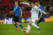 England's Ross Barkley tries a shot during the UEFA European 2016 Qualifier match between England and Estonia at Wembley Stadium, London, England on 9 October 2015. Photo by Shane Healey.