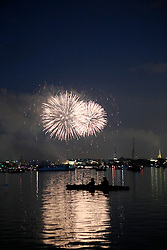 GERMANY HAMBURG 23MAY14 - Fireworks over the skyline of Hamburg during the Cherry Blossom festival, seen from the outer Alster river basin.<br /> <br /> <br /> <br /> jre/Photo by Jiri Rezac<br /> <br /> <br /> <br /> &copy; Jiri Rezac 2014