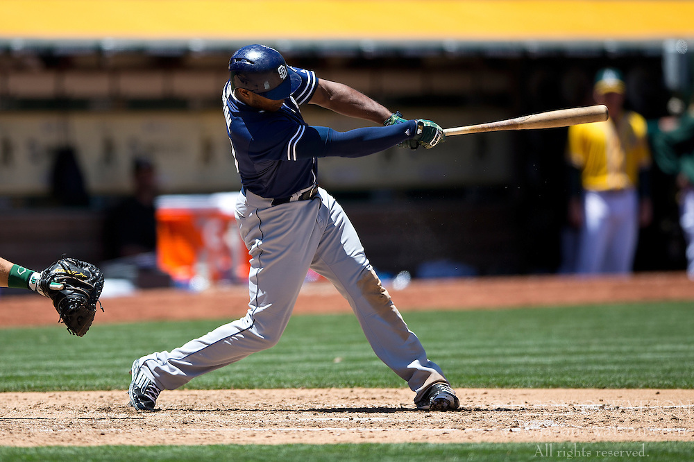 OAKLAND, CA - JUNE 18:  Justin Upton #10 of the San Diego Padres at bat against the Oakland Athletics during the sixth inning at O.co Coliseum on June 18, 2015 in Oakland, California. The San Diego Padres defeated the Oakland Athletics 3-1. (Photo by Jason O. Watson/Getty Images) *** Local Caption *** Justin Upton