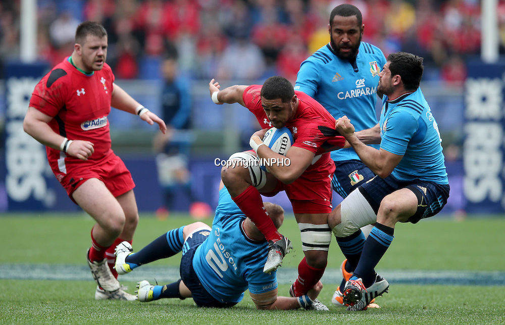 RBS 6 Nations Championship, Stadio Olimpico, Rome, Italy 21/3/2015<br /> Italy vs Wales <br /> Italy's Leonardo Ghiraldini and Andrea Masi with Taulupe Faletau of Wales <br /> Mandatory Credit &copy;INPHO/Ryan Byrne