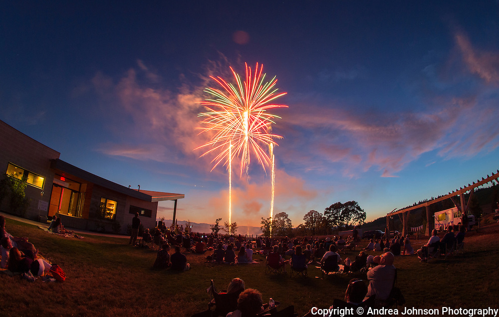 4th of July celebration in Oregon's Wine Country, Saffron Fields Vineyard, Willamtte Valley. Oregon