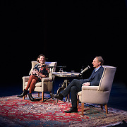Author Dan Brown speaks with NHPR's Virginia Prescott during a Writers on a New England Stage show at The Music Hall in Portsmouth, NH