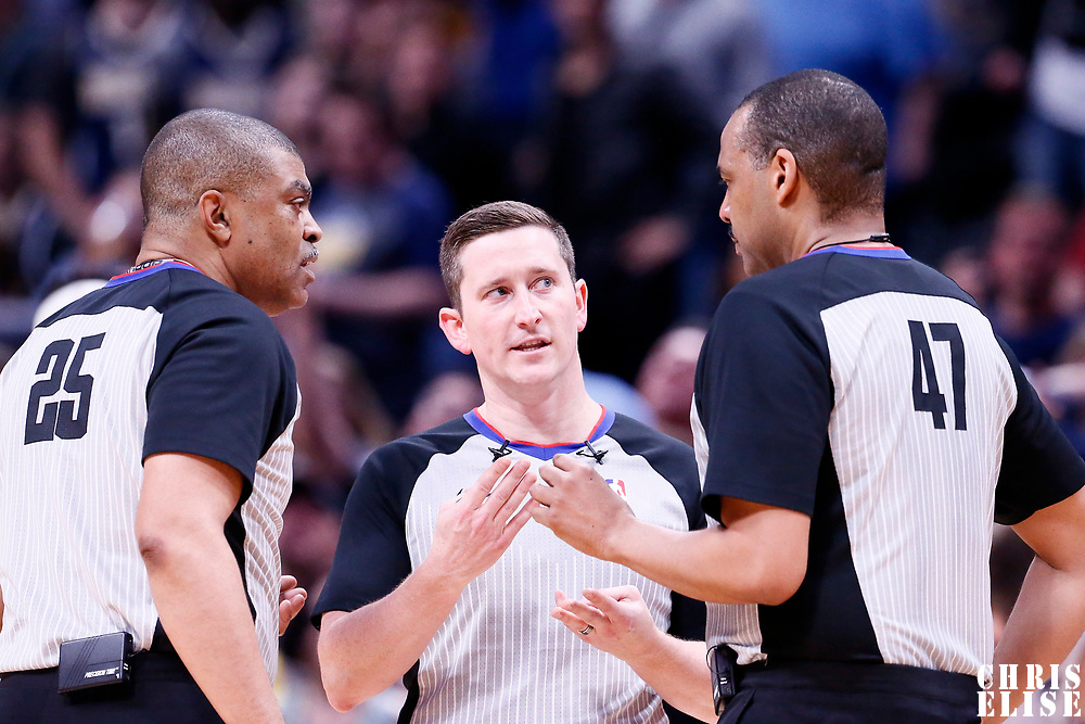 01 April 2018: referee Tony Brothers (25), referee Nick Buchert (3) and referee Bennie Adams (47) are seen during the Denver Nuggets 128-125 victory over the Milwaukee Bucks, at the Pepsi Center, Denver, Colorado, USA.