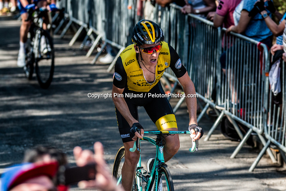 Robert GESINK of Team LottoNL-Jumbo during the last climb at Mur de Huy of the 2018 La Flèche Wallonne race, Huy, Belgium, 18 April 2018, Photo by Pim Nijland / PelotonPhotos.com | All photos usage must carry mandatory copyright credit (Peloton Photos | Pim Nijland)
