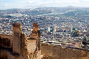 FEZ, MOROCCO - 1st DECEMBER 2016 - View over the Fez Medina with old wall ruin remains in view, Morocco.