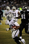 Dec 25, 2017; Philadelphia, PA, USA; Oakland Raiders return specialist Jalen Richard (30) during a NFL football game at Lincoln Financial Field. The Eagles defeated the Raiders 19-10. Photo by Reuben Canales