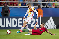 June 20, 2017 - Gdynia, Poland - Gerard Deulofeu of Spain tackled by Kevin Rodrigues of Portugal during the UEFA European Under-21 Championship 2017  Group B match between Portugal and Spain at Gdynia Stadium in Gdynia, Poland on June 20, 2017  (Credit Image: © Andrew Surma/NurPhoto via ZUMA Press)