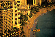 Image of Waikiki Beach and resorts along the coastline, Honolulu, Oahu, Hawaii.