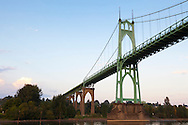 Views of the St. John's Bridge and Cathedral Park in Portland, Oregon from a small ship on the Willamette River