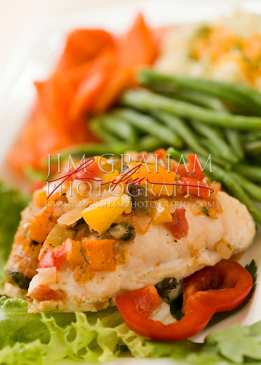 Chicken with sauteed vegatables. (Photography by Jim Graham)