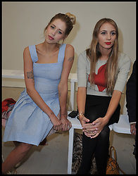 Peaches Geldof (l) and  Harley Viera-Newton attend the Vivienne Westwood Autumn / Winter at London Fashion Week, Sunday February 17, 2013. Photo by Andrew Parsons / i-Images<br /> File photo - Peaches Geldof  died of heroin overdose coroner rules today Wednesday 23rd July 2014.