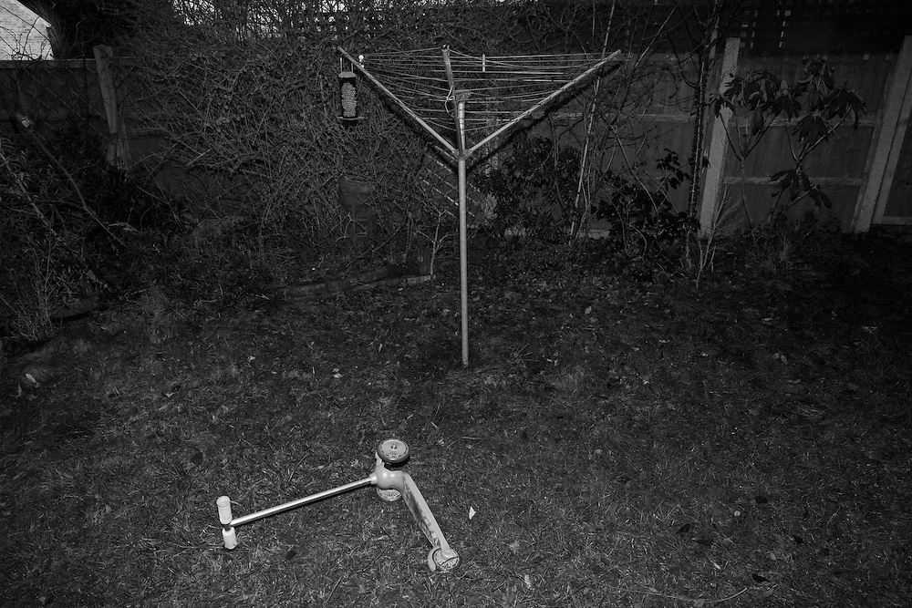 A scooter lays next to a clothes drying rack in Claudia's back yard in Berkhamsted, England Wednesday, Feb. 18, 2015 (Elizabeth Dalziel) #thesecretlifeofmothers #bringinguptheboys #dailylife