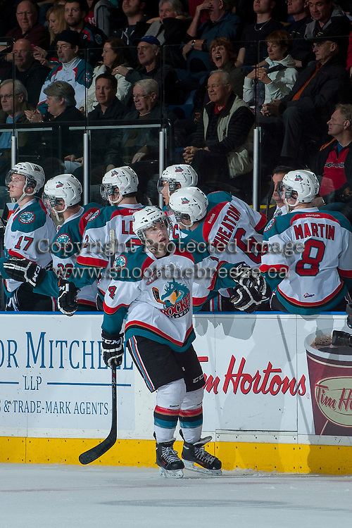 KELOWNA, CANADA -JANUARY 29: Rourke Chartier #14 of the Kelowna Rockets celebrates a goal at the bench against the Spokane Chiefs on January 29, 2014 at Prospera Place in Kelowna, British Columbia, Canada.   (Photo by Marissa Baecker/Getty Images)  *** Local Caption *** Rourke Chartier;