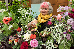 © Licensed to London News Pictures. 03/06/2016. London, UK. Fiona Haser Bixony from Electric Daisy Flower Farm tends roses at the second annual London Rose Show, hosted by the Royal Horticultural Society, which opened at the Horticultural Halls in Victoria, where rose growers are showing off their latest blooms. Photo credit : Stephen Chung/LNP