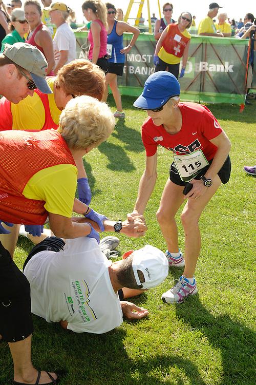 Joan Samuelson, Beach to Beacon 10K race founder , Joan Benoit Samuelson , medical team responds to exhausted runner