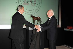 ARNAUD BAMBERGER Executive Chairman of Cartier UK and SIR PETER O'SULLEVAN at the 20th annual Cartier Racing Awards - the most prestigious award ceremony within European horseracing, held at The Dorchester Hotel, Park Lane, London on 16th November 2010.
