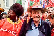 Roma 29 Novembre 2014<br /> Manifestazione dei lavoratori dell'agroindustria, promossa  dai sindacati FLAI CGIL e UILA UIL contro il Jobs act del Governo Renzi. Susanna Camusso, Segretario generale CGIL<br /> Rome November 29, 2014<br /> Demonstration of the workers of the Agroindustrial, promoted by unions FLAI CGIL and UIL UILA against the Jobs Act of the Prime Minister Renzi's government. Susanna Camusso, General Secretary of the CGIL.