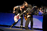 Three Days Grace performing at the Verizon Wireless Amphitheater in Indianapolis, IN on Sept. 17, 2011 on the Uproar Tour.
