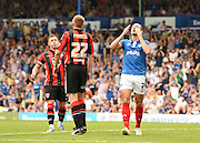 Adam McGurk misses a late chance for Portsmouth during the Sky Bet League 2 match between Portsmouth and Morecambe at Fratton Park, Portsmouth, England on 22 August 2015. Photo by David Charbit.